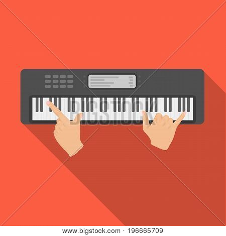 Playing on an electronic keyboard instrument. Synthesizer, Electroorgan single icon in flat style vector symbol stock illustration .