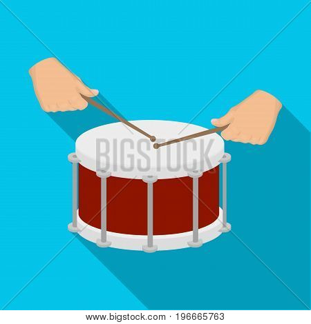 Drum, percussion musical instrument. Drum shot single icon in flat style vector symbol stock illustration .
