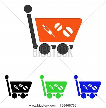 Medication Shopping Cart vector icon. Illustration style is a flat iconic colored symbol with different color versions.