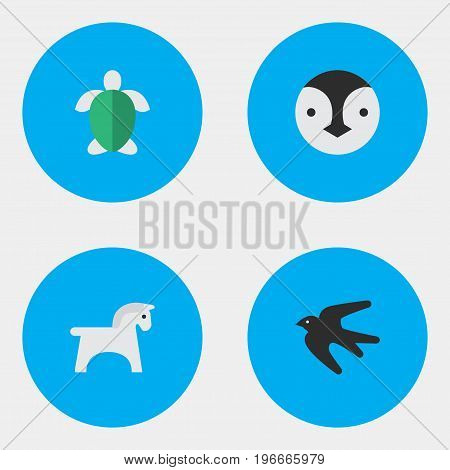 Elements Steed, Turtle, Sparrow And Other Synonyms Tortoise, Bird And Turtle.  Vector Illustration Set Of Simple Animals Icons.