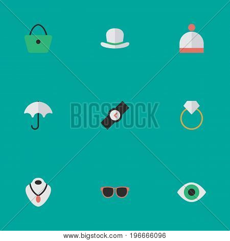 Elements Wristwatch, Engagement, Woman Bag And Other Synonyms Time, View And Fedora.  Vector Illustration Set Of Simple Instrument Icons.