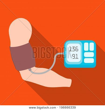 Measurement of blood pressure with a tonometer. Medicine single icon in flat style vector symbol stock illustration .