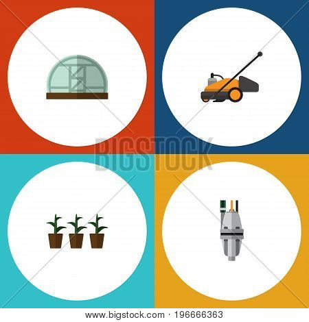 Flat Icon Dacha Set Of Lawn Mower, Flowerpot, Hothouse And Other Vector Objects