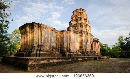 Prasat Kravan temple at sunset in Angkor Wat, Cambodia