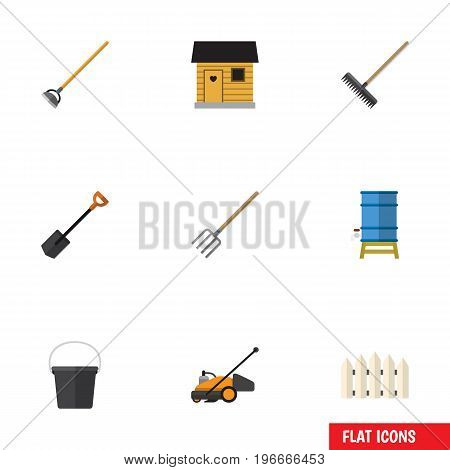 Flat Icon Farm Set Of Tool, Spade, Lawn Mower And Other Vector Objects