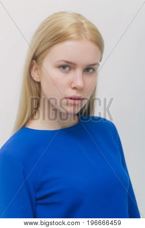 Woman With Blond Long Hair And No Makeup On Face