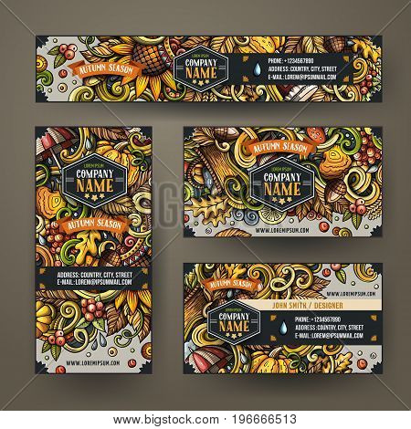 Cartoon colorful vector doodles Autumn season corporate identity set. Template design of banners, id cards, flyer