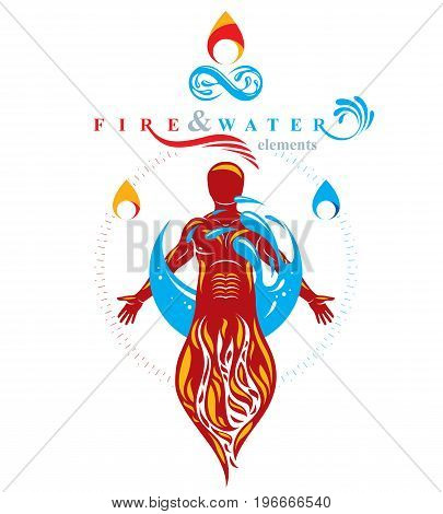 Vector graphic illustration of muscular human mystic individual composed with limitless symbol created from water wave. Continuous human and nature harmony.
