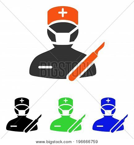 Surgeon vector pictograph. Illustration style is a flat iconic colored symbol with different color versions.
