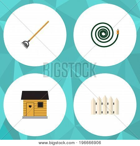 Flat Icon Dacha Set Of Tool, Stabling, Wooden Barrier And Other Vector Objects