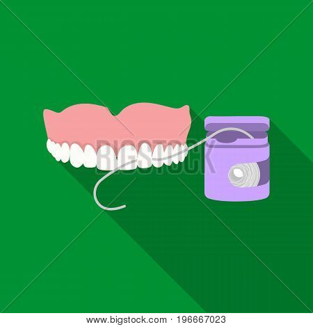 Cleaning the teeth with a Silk dental floss. Stomatology single icon in flat style vector symbol stock illustration .