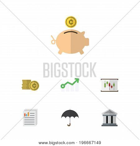 Flat Icon Gain Set Of Diagram, Growth, Bank And Other Vector Objects