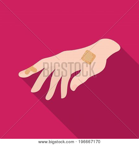 Bactericidal plaster on the arm. Medicine single icon in flat style vector symbol stock illustration .
