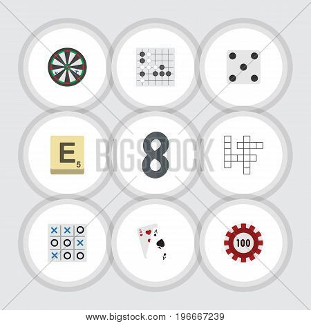 Flat Icon Entertainment Set Of Poker, Mahjong, Gomoku And Other Vector Objects