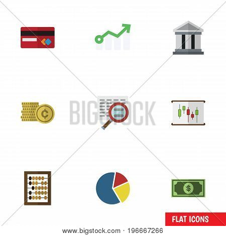 Flat Icon Finance Set Of Growth, Graph, Cash And Other Vector Objects
