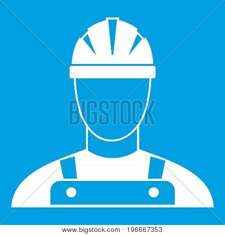 Builder icon white isolated on blue background vector illustration