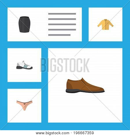 Flat Icon Dress Set Of Male Footware, Banyan, Sneakers And Other Vector Objects