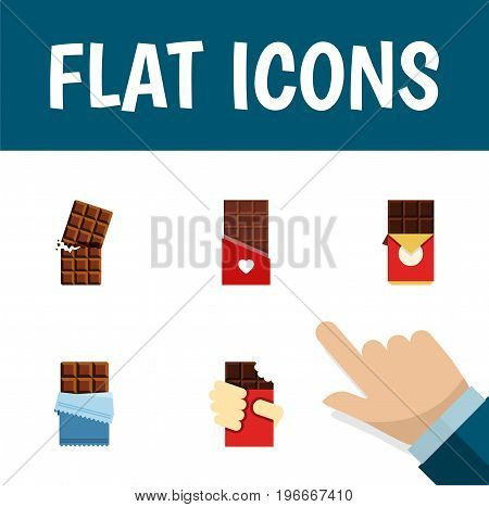 Flat Icon Bitter Set Of Wrapper, Shaped Box, Chocolate Bar And Other Vector Objects