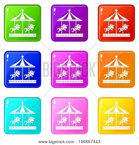 Merry go round horse ride icons of 9 color set isolated vector illustration