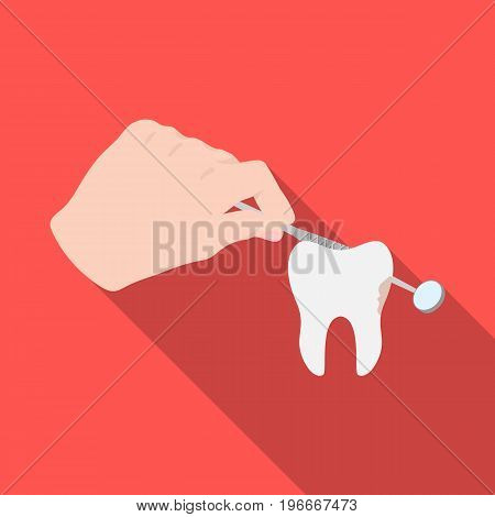 Manipulation, gesture of the hand of the dentist with the instrument over the damaged tooth. Stomatology single icon in flat style vector symbol stock illustration .