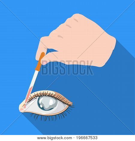 Hand wrapping the medicine in the damaged eye. Medicine single icon in flat style vector symbol stock illustration .