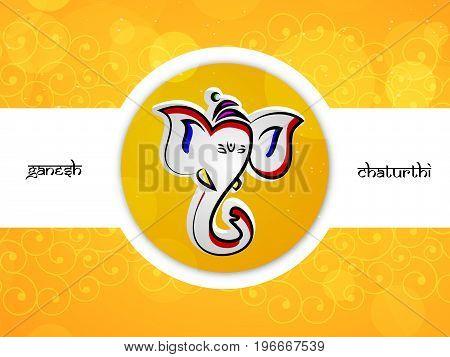 illustration of face of Hindu God Ganesh with Ganesh Chaturthi text on the occasion of Hindu Festival Ganesh Chaturthi