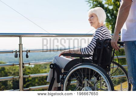 Look full of wisdom. Injured dreamy elderly lady sitting in a wheelchair and looking at the city skyline while the volunteer wheeling her chair