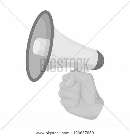 Speaker for voice enhancement. Megaphone in hand single icon in monochrome style vector symbol stock illustration .