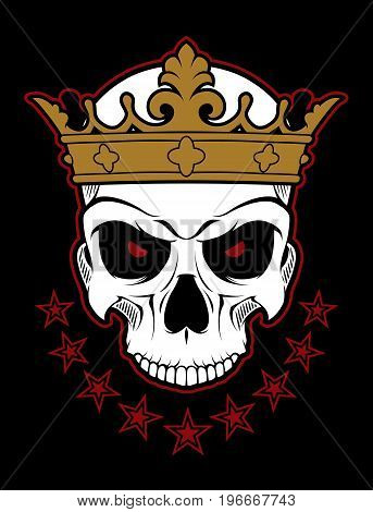 Evil cartoon skull of dead monarch with crown