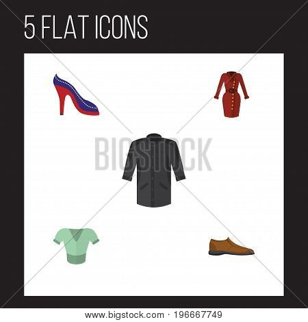 Flat Icon Clothes Set Of Uniform, Male Footware, Casual And Other Vector Objects