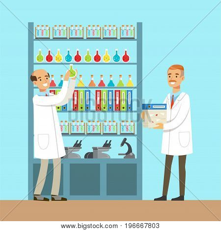 Chemists males testing chemical elements, interior of science laboratory, vector Illustration in flat design