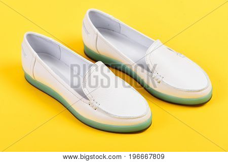 Summer Fashion And Casual Lifestyle Concept. Pair Of Shoes