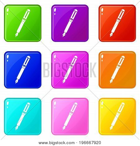 Black fountain pen icons of 9 color set isolated vector illustration
