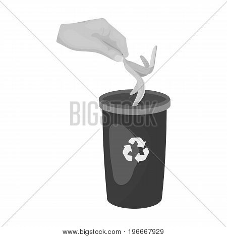 Emission of banana peel into the garbage can for waste. Rubbish and Ecology single icon in monochrome style vector symbol stock illustration .