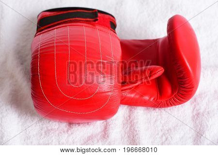 Pair Of Red Boxing Gloves For Heavyweight Sport On White