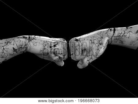 Sculpture of two fists on a black background. 3d illustration.