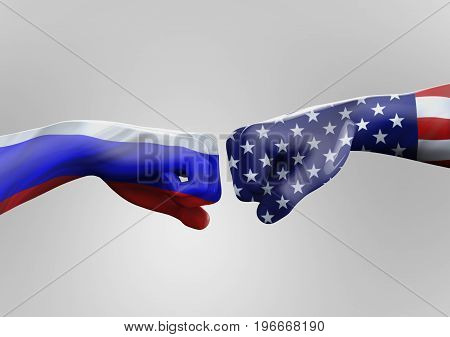 USA vs Russia. Two fists on a gray background. 3d illustration.