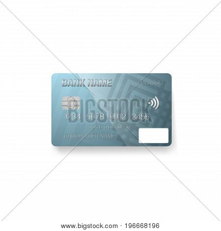 Illustration of Vector Credit Card. Photorealistic Bank Card Isolated on White Background
