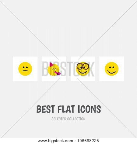 Flat Icon Gesture Set Of Displeased, Party Time Emoticon, Pleasant And Other Vector Objects