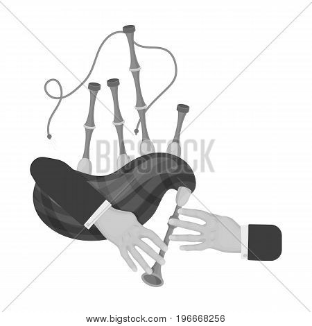 Playing the Scottish national bagpipe instrument. Bagpipe Wind Instruments single icon in monochrome style vector symbol stock illustration .