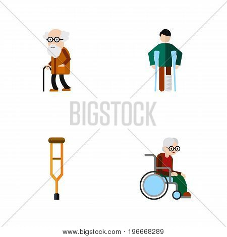 Flat Icon Handicapped Set Of Injured, Ancestor, Wheelchair And Other Vector Objects