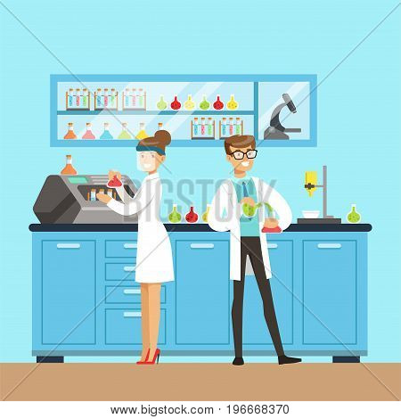 Chemists male and female testing chemical elements, interior of science laboratory, vector Illustration in flat design