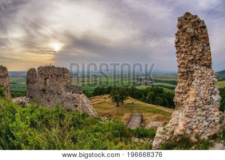 Medieval ruins of oponice castle Slovakia. HDR photography