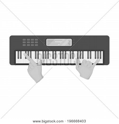 Playing on an electronic keyboard instrument. Synthesizer, Electroorgan single icon in monochrome style vector symbol stock illustration .