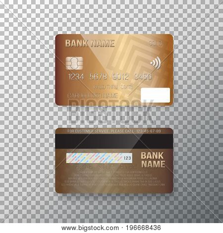 Illustration of Vector Credit Card. Photorealistic Bank Card Isolated on Transparent Background