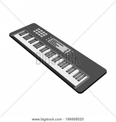 Keyboard electronic musical instrument. Synthesizer of melody single icon in monochrome style vector symbol stock illustration .
