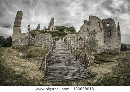 Medieval ruins of oponice castle Slovakia. HDR photography with fisheye lens