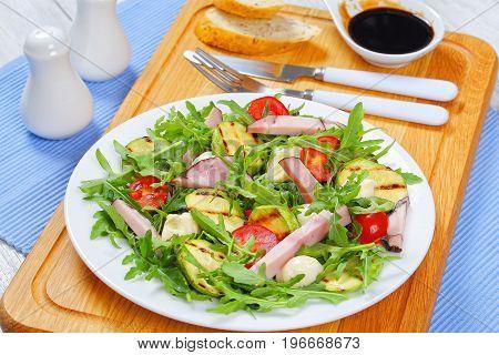 Grilled Zucchini, Tomato Greens Salad, Close-up