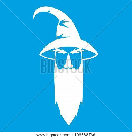 Wizard icon white isolated on blue background vector illustration