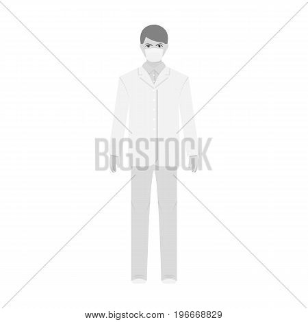 The man is a doctor in uniform and a protective mask. The medicine single icon in monochrome style vector symbol stock illustration .